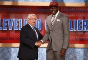 Bennett from the UNLV shakes hands with NBA Commissioner Stern after being selected by the Cavaliers as the first overall pick in the 2013 NBA Draft in Brooklyn
